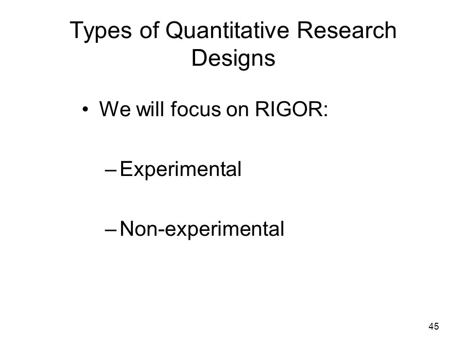 Choosing appropriate quantitative research design
