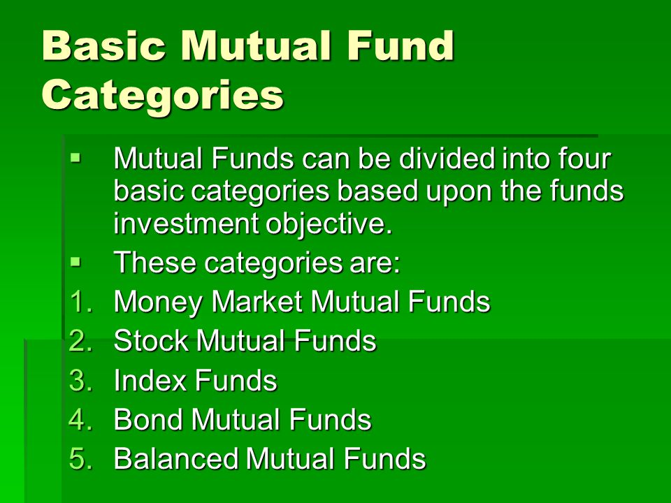 Basic Mutual Fund Categories