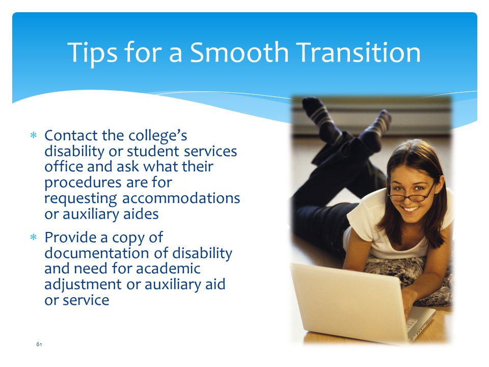 transition of high school students with disabilities Making the transition from high school to college for students with disabilities:  developed for ncld by colleen lewis, director office of disability services,.