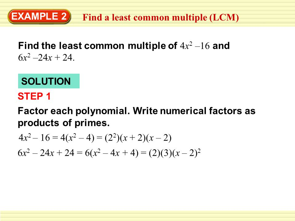 Least common multiple (solutions, examples, videos).