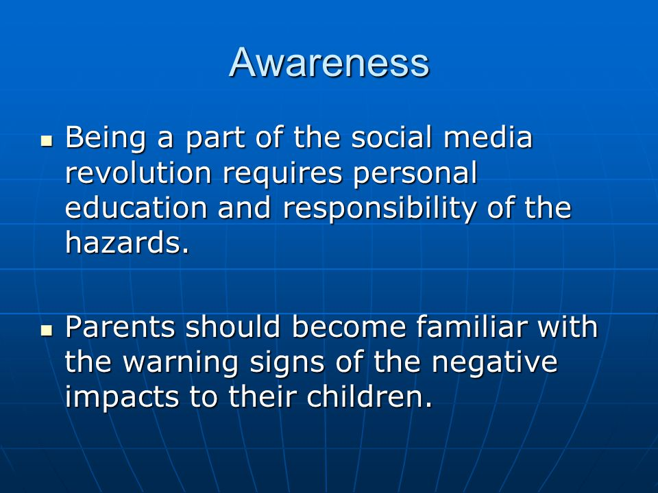 Social networks online dating and psychologial impact on kids
