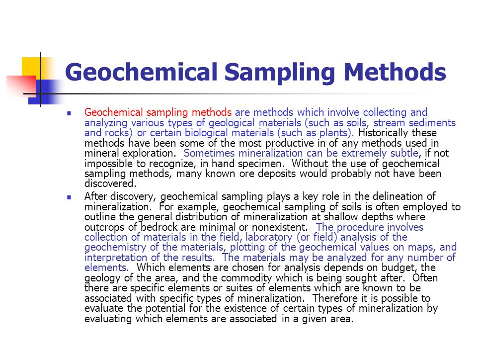 Geochemical Sampling Methods