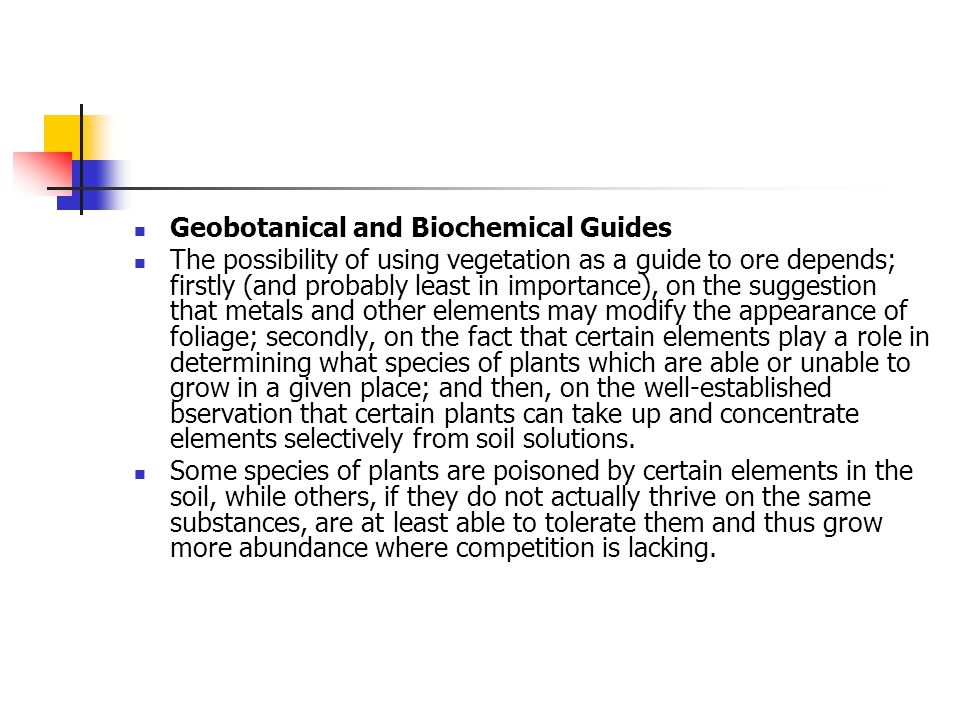 Geobotanical and Biochemical Guides