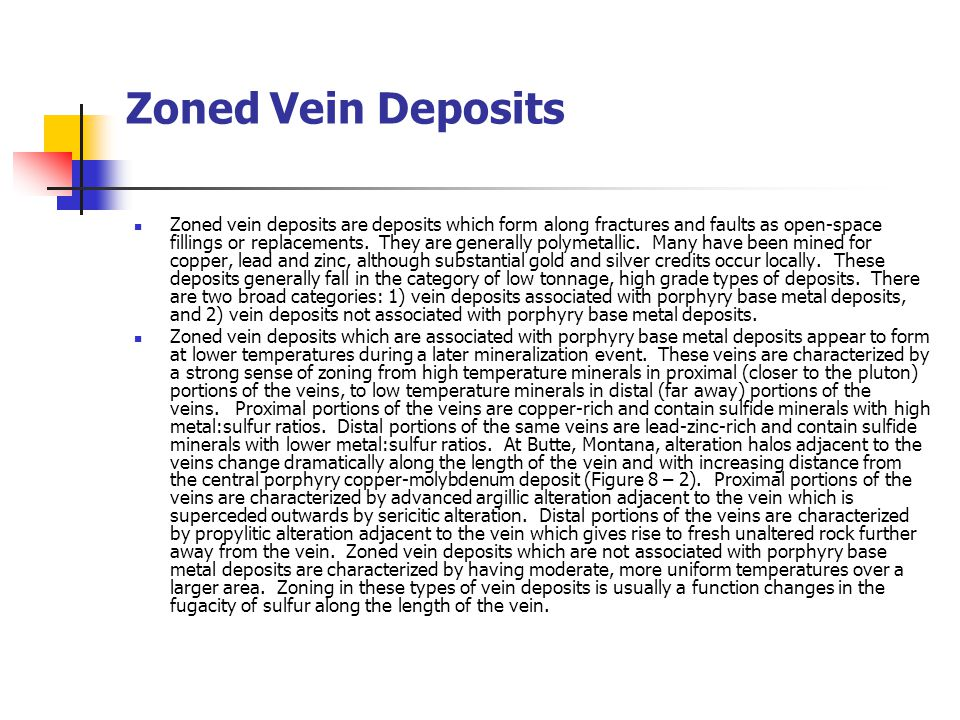 Zoned Vein Deposits