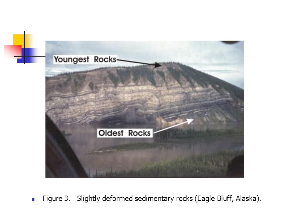 Figure 3. Slightly deformed sedimentary rocks (Eagle Bluff, Alaska).