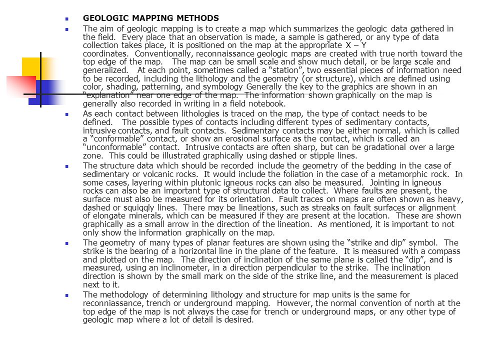 GEOLOGIC MAPPING METHODS