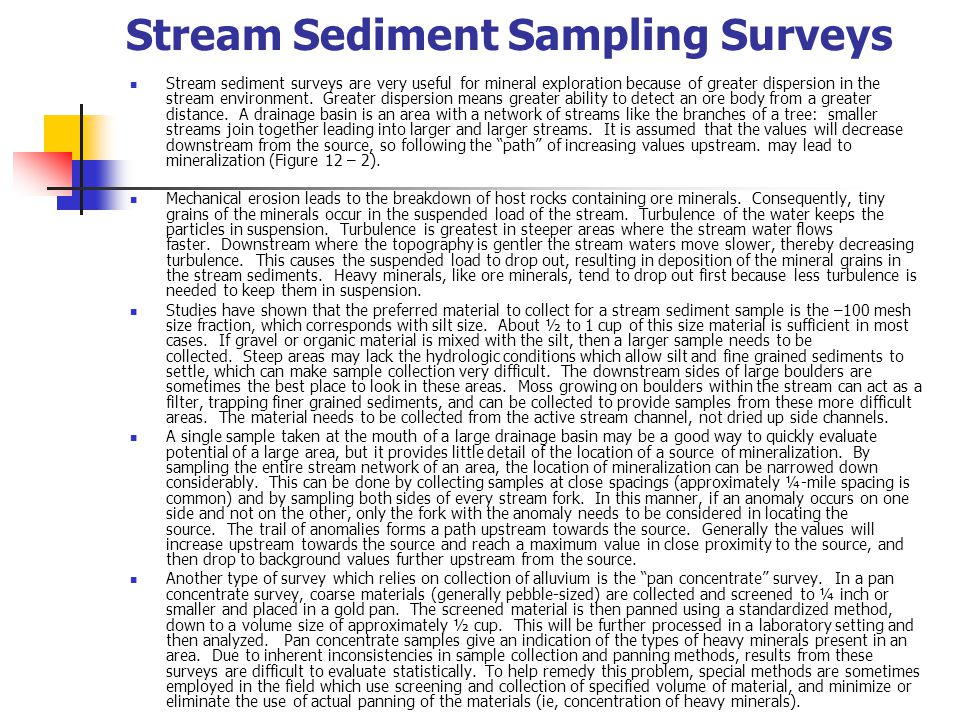 Stream Sediment Sampling Surveys