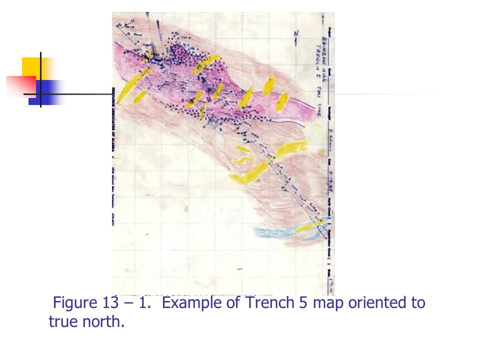 Figure 13 – 1. Example of Trench 5 map oriented to true north.
