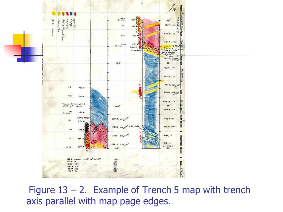 Figure 13 – 2. Example of Trench 5 map with trench axis parallel with map page edges.