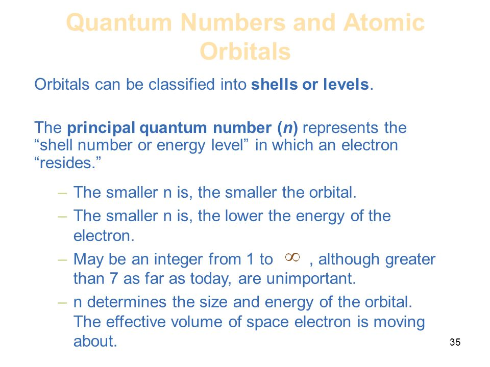 The Letter N The Principal Quantum Number Represents What