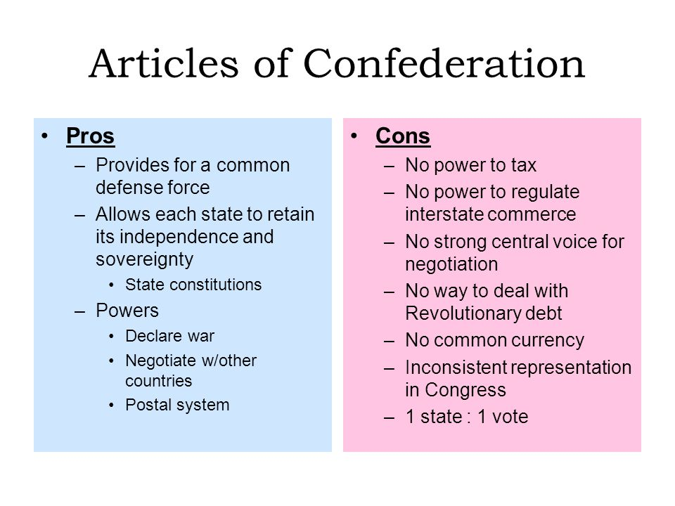 pros as well as negative aspects about articles and reviews with confederation