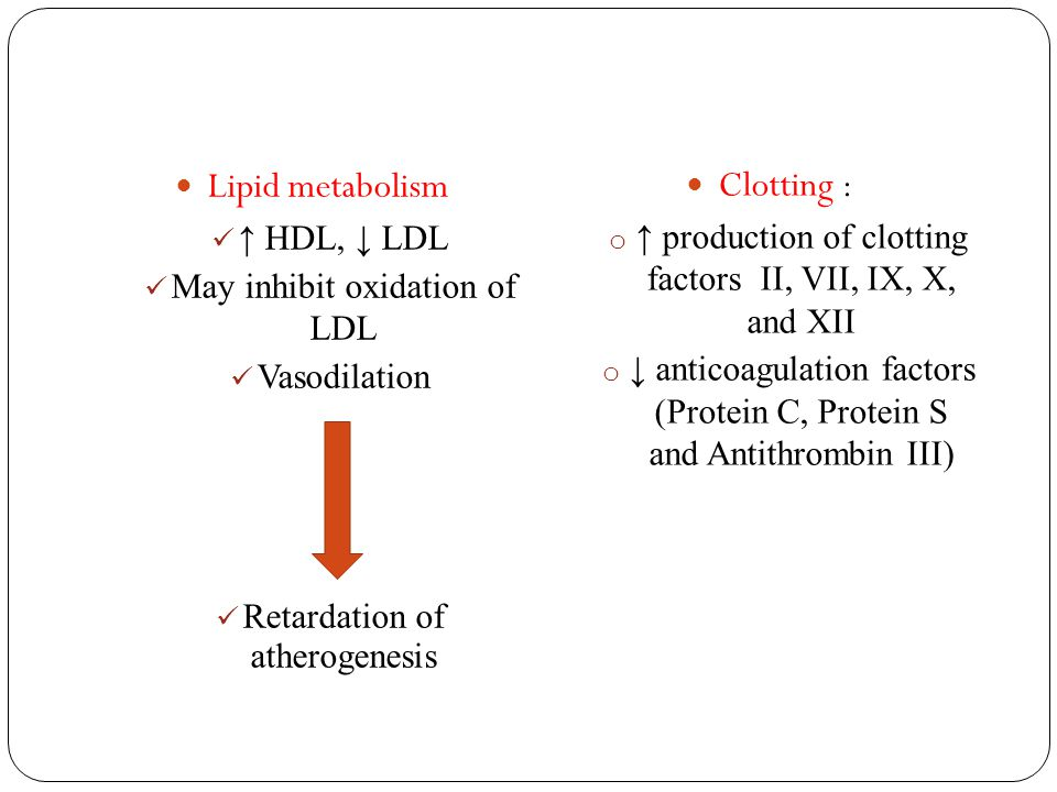 Lipid metabolism Clotting : ↑ HDL, ↓ LDL