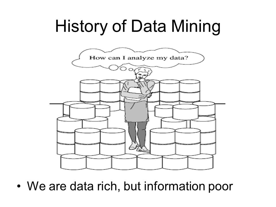 History of Data Mining We are data rich, but information poor