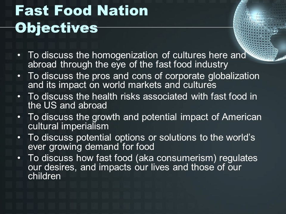 the effect of the fast food industry on american culture Fast food has already been part of our american culture for nearly 70 years what started as a hot dog stand has grown to become a huge organization that has negatively impacted our society the food served in the fast food business is of questionable quality and the standards of food safety are lowered to insure the company's profitability.