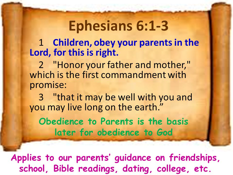obedience to parents It is our duty to obey our parents, that is, to do always what they tell us to do all that we have is given to us by our parents food, clothing and education they tend us when we are too.
