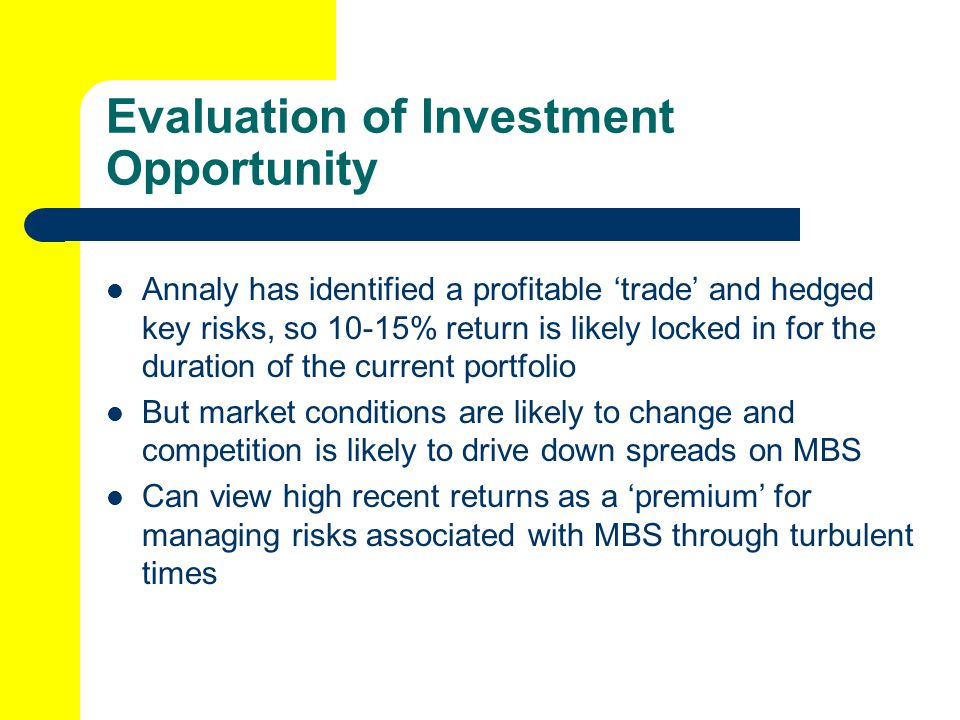 Evaluation of Investment Opportunity