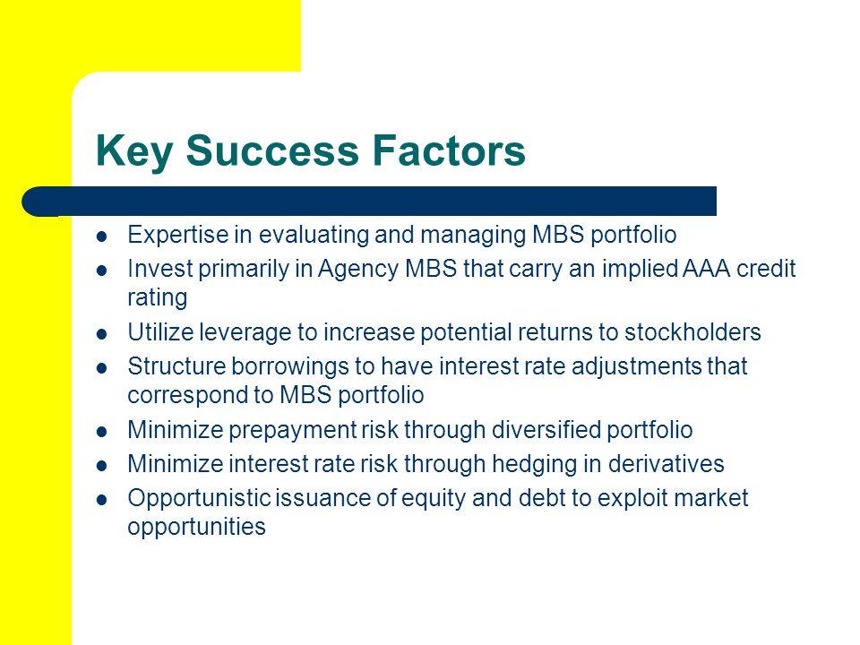 Key Success Factors Expertise in evaluating and managing MBS portfolio