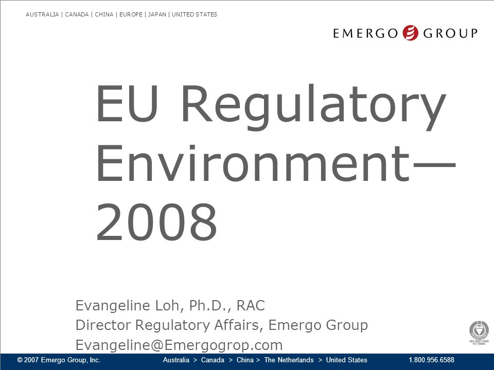 EU Regulatory Environment—2008