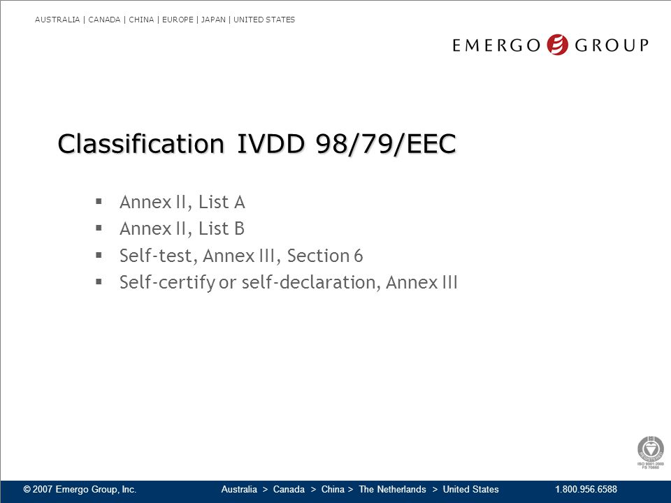 Classification IVDD 98/79/EEC