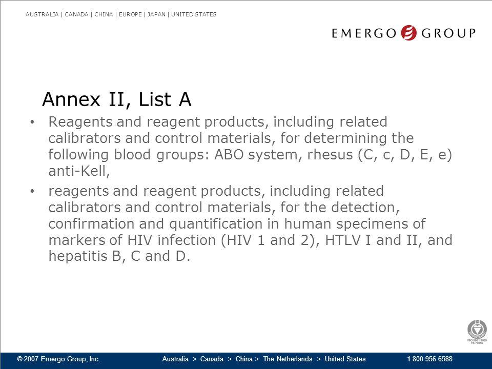 Annex II, List A