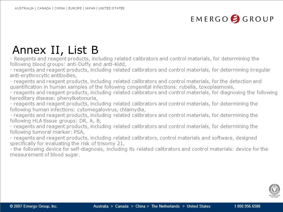 Annex II, List B