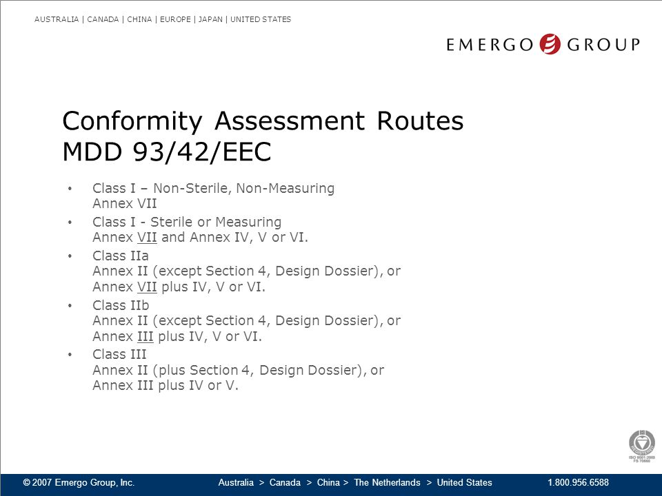 Conformity Assessment Routes MDD 93/42/EEC