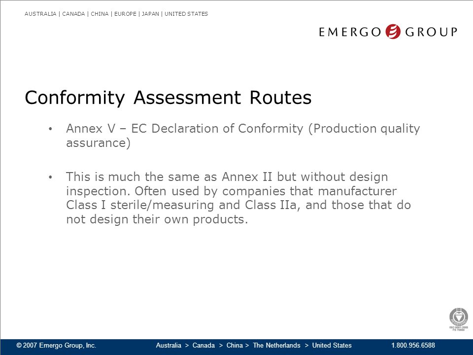 Conformity Assessment Routes
