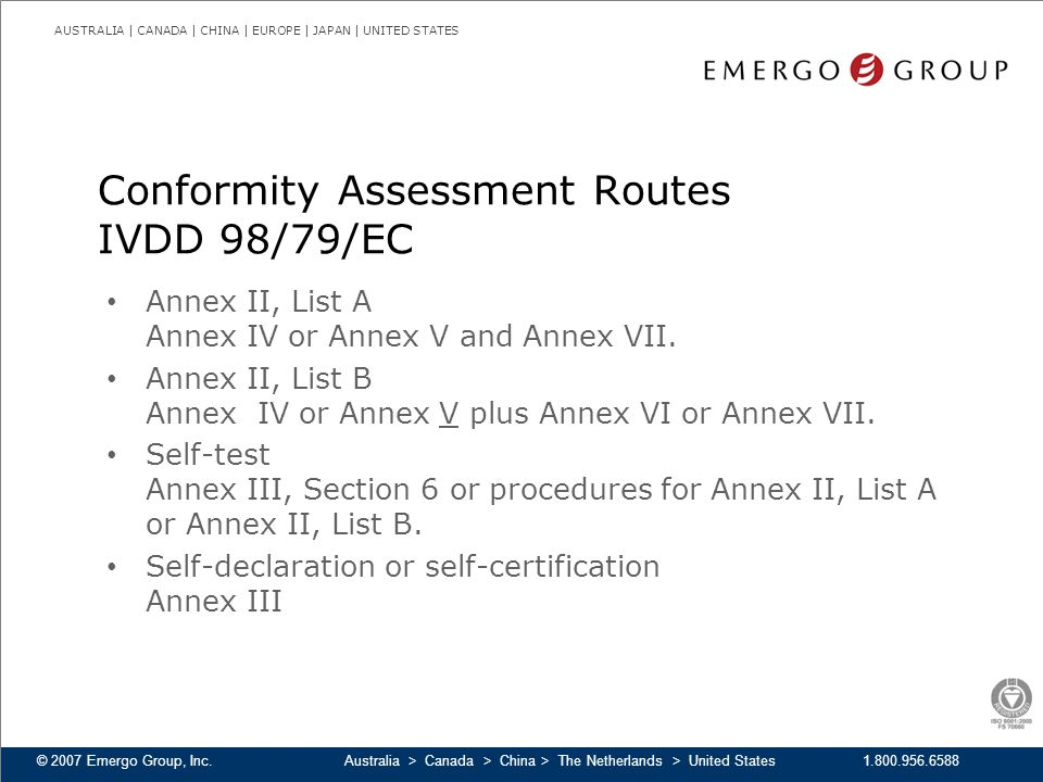 Conformity Assessment Routes IVDD 98/79/EC