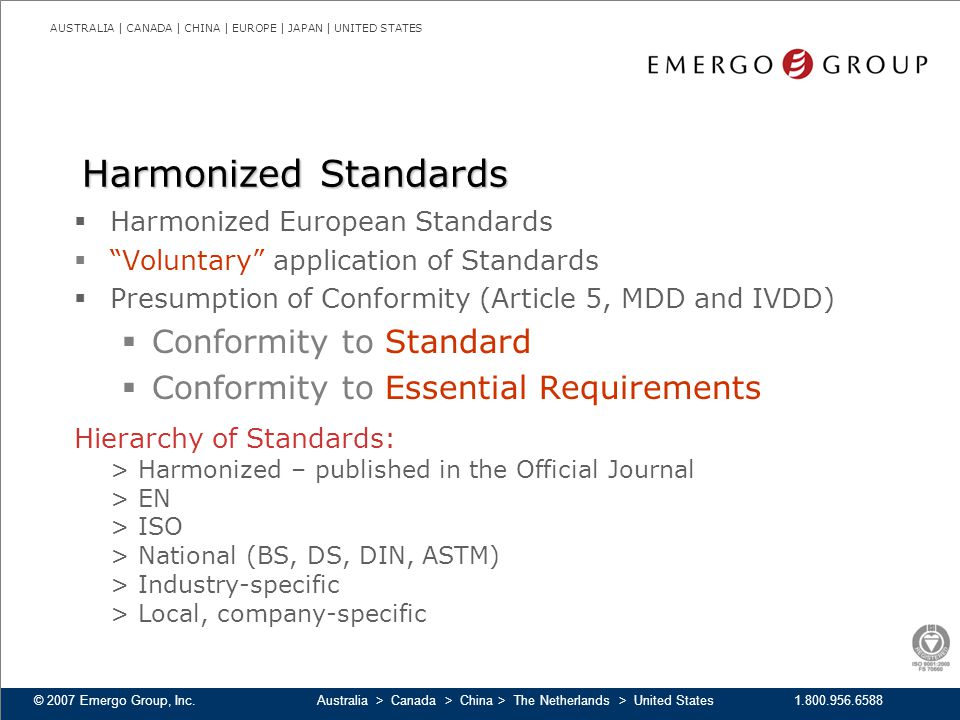 Harmonized Standards Conformity to Standard