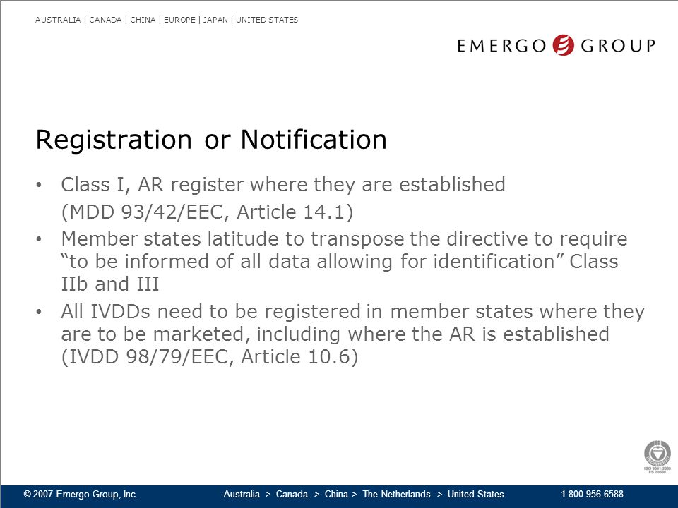 Registration or Notification