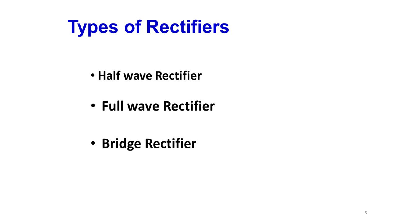 Types of Rectifiers Full wave Rectifier Bridge Rectifier