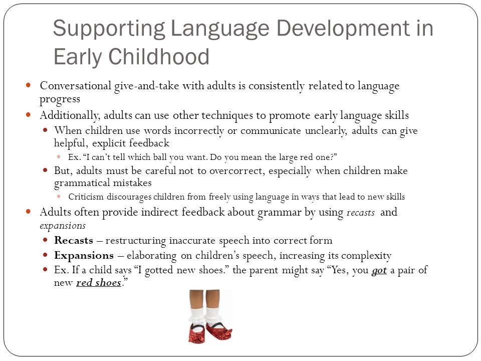 language development in preschool children I how prek encourages speech and language development when we watch children in preschool classrooms we see many thingssome children are actively involved with others in the classroom.
