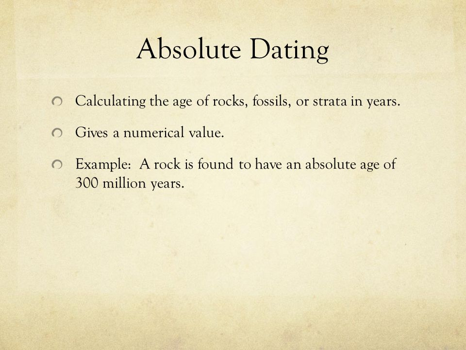 absolute rock dating Radiometric dating of rocks and minerals using naturally are obtained on more than one rock unit or more than one mineral from a rock unit in order to.