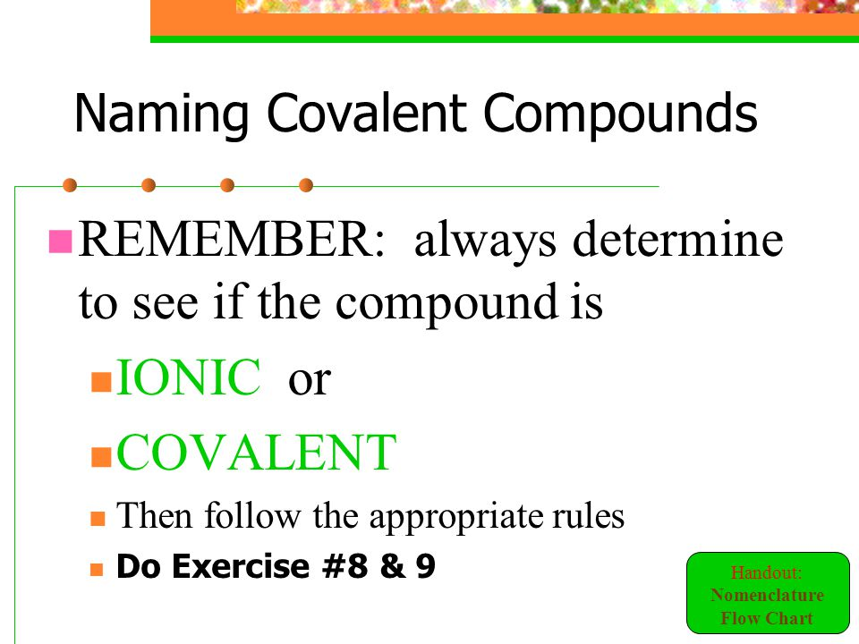 naming chemical compounds exercise 1 Naming covalent compounds worksheet – answers  naming covalent compounds worksheet answerspdf  naming organic compounds: 1.