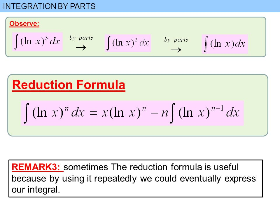 how to use reduction formula