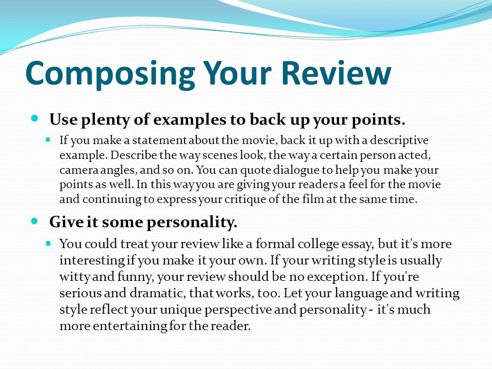 magazine journalism writing a movie review ppt video online  composing your review use plenty of examples to back up your points