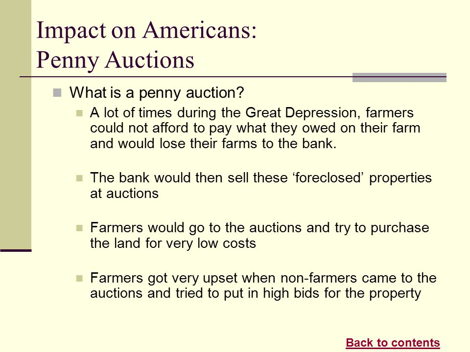 Great depression penny auctions
