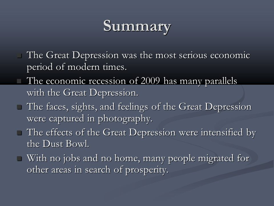 the great depression summary Fdr's first inaugural address declaring 'war' on the great depression declaring war on the great depression background by late winter 1933, the nation had already endured more than three years of economic depression.