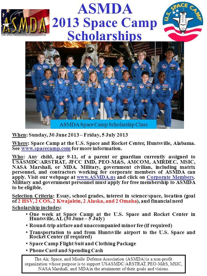 ASMDA Space Camp Scholarship Class