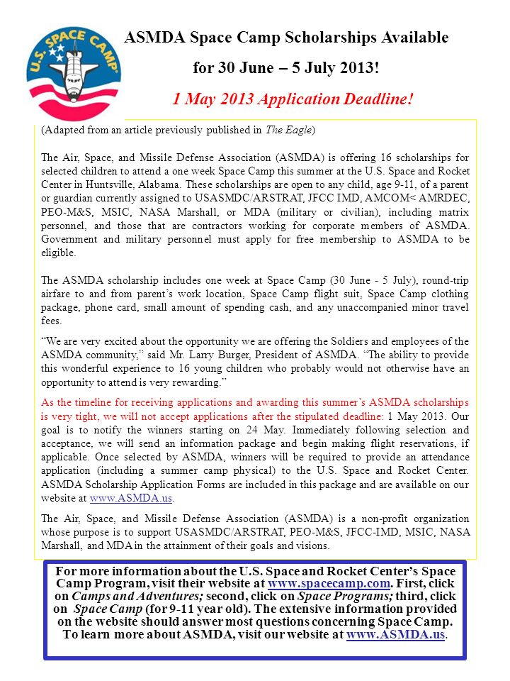 ASMDA Space Camp Scholarships Available for 30 June – 5 July 2013!