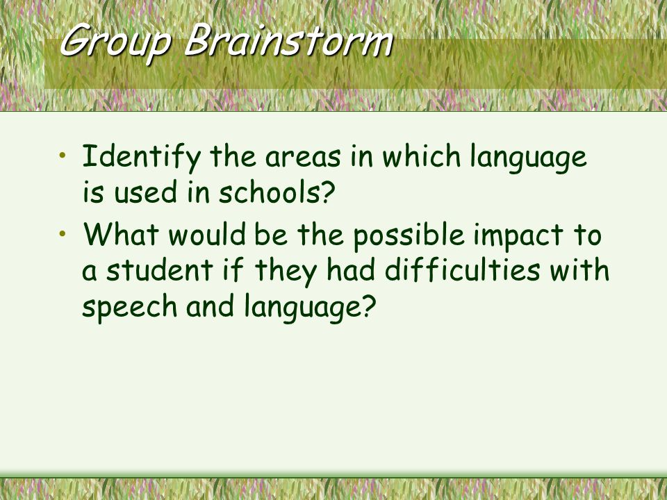 impact of speech language and communication difficulties Some children have speech-language delay, for example difficulties with the  of  ways including the picture exchange communication system (pecs), however it  all  the impact of language problems on life depends of the extent of the.