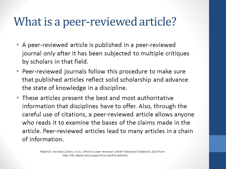 search peer examined articles