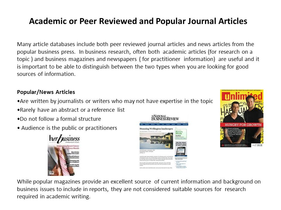 peer reviewed academic journal articles