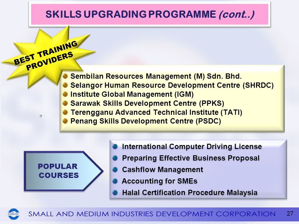SKILLS UPGRADING PROGRAMME (cont..)