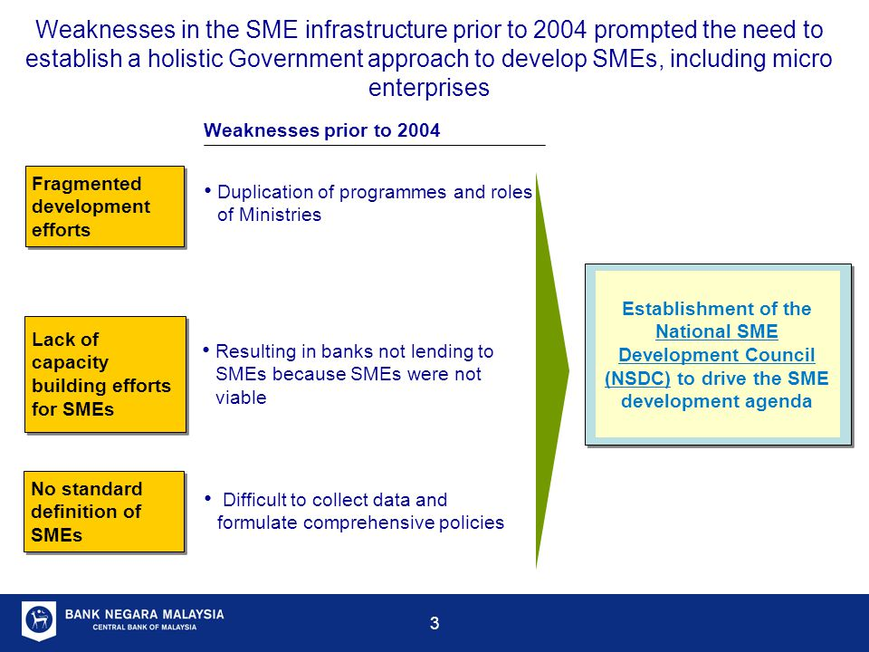 Weaknesses in the SME infrastructure prior to 2004 prompted the need to establish a holistic Government approach to develop SMEs, including micro enterprises
