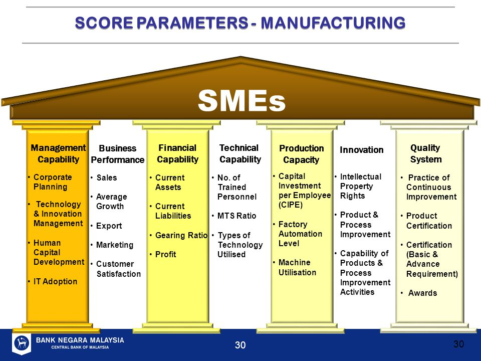 SCORE PARAMETERS - MANUFACTURING Management Capability