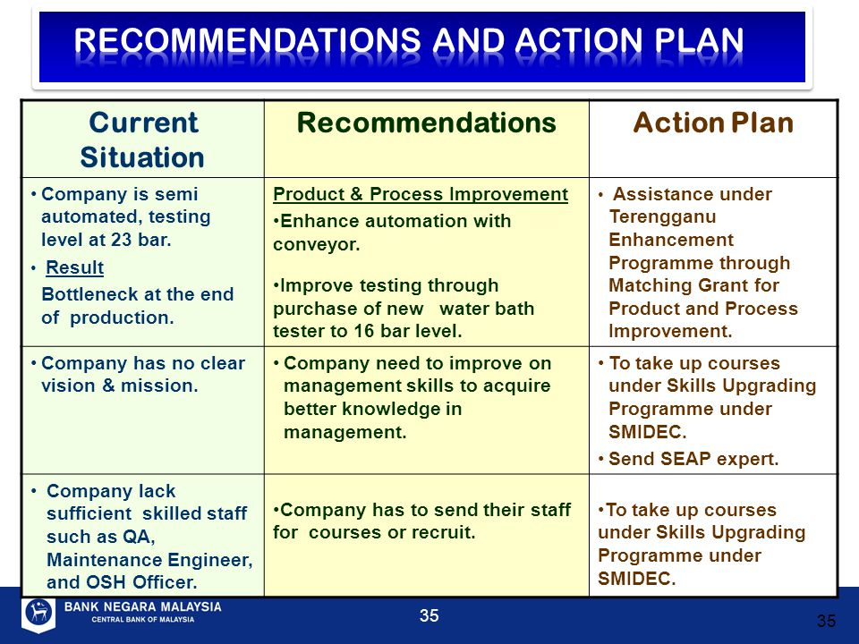 RECOMMENDATIONS AND ACTION PLAN