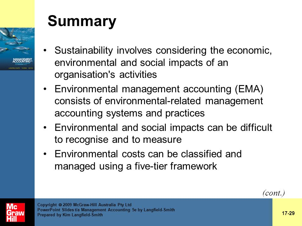 impact of environmental accounting in management As the environmental management accounting system has only verifiable  annual reports reflect on the importance of the environmental benefits, where the.