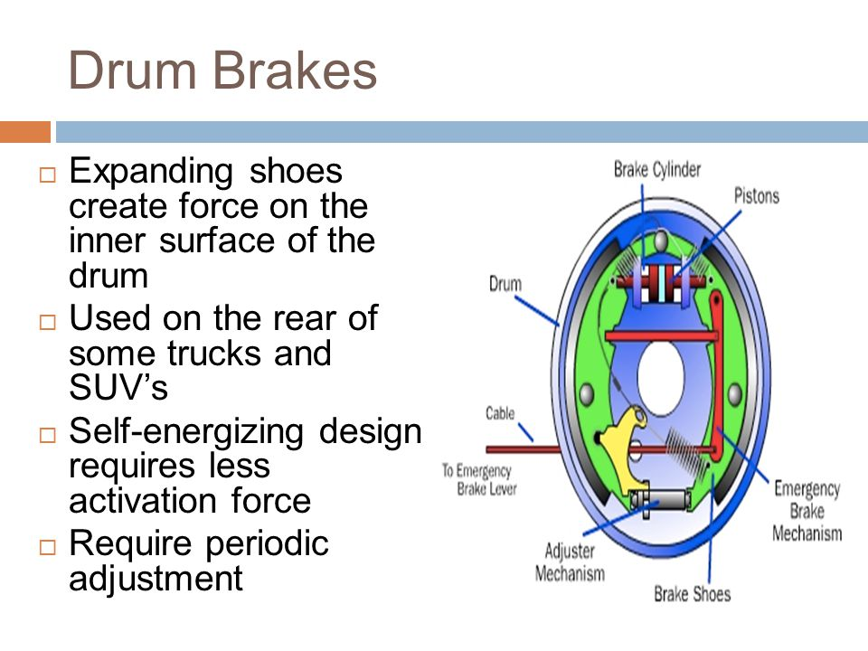 Drum Brakes Expanding shoes create force on the inner surface of the drum. Used on the rear of some trucks and SUV's.