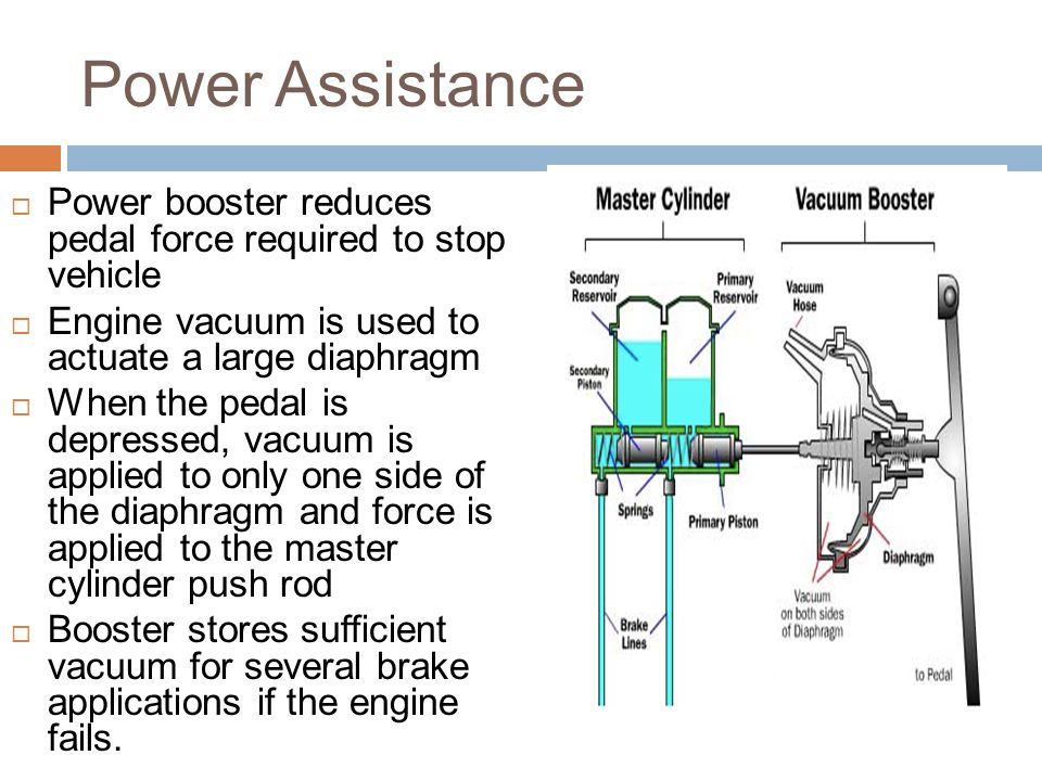 Power Assistance Power booster reduces pedal force required to stop vehicle. Engine vacuum is used to actuate a large diaphragm.